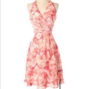 WHBM Floral Halter Dress Coral 8